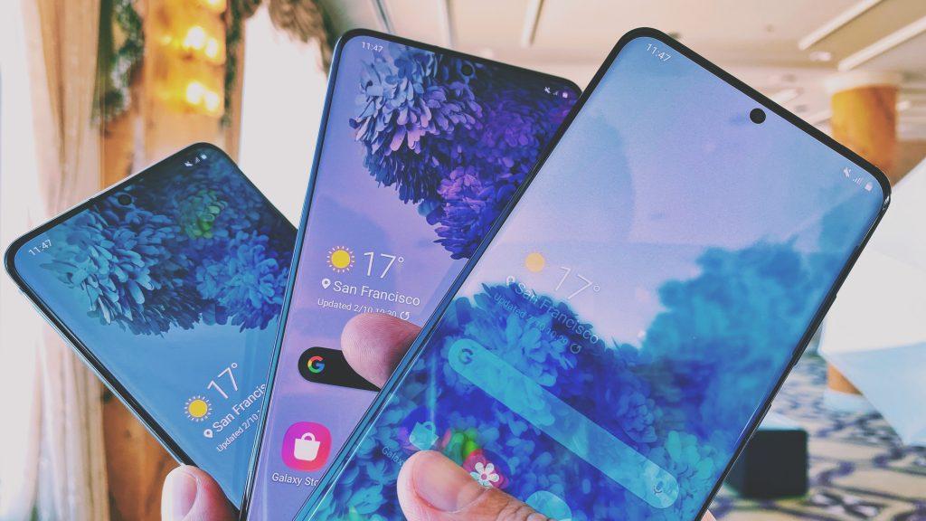Smartphones da linha s20 da samsung