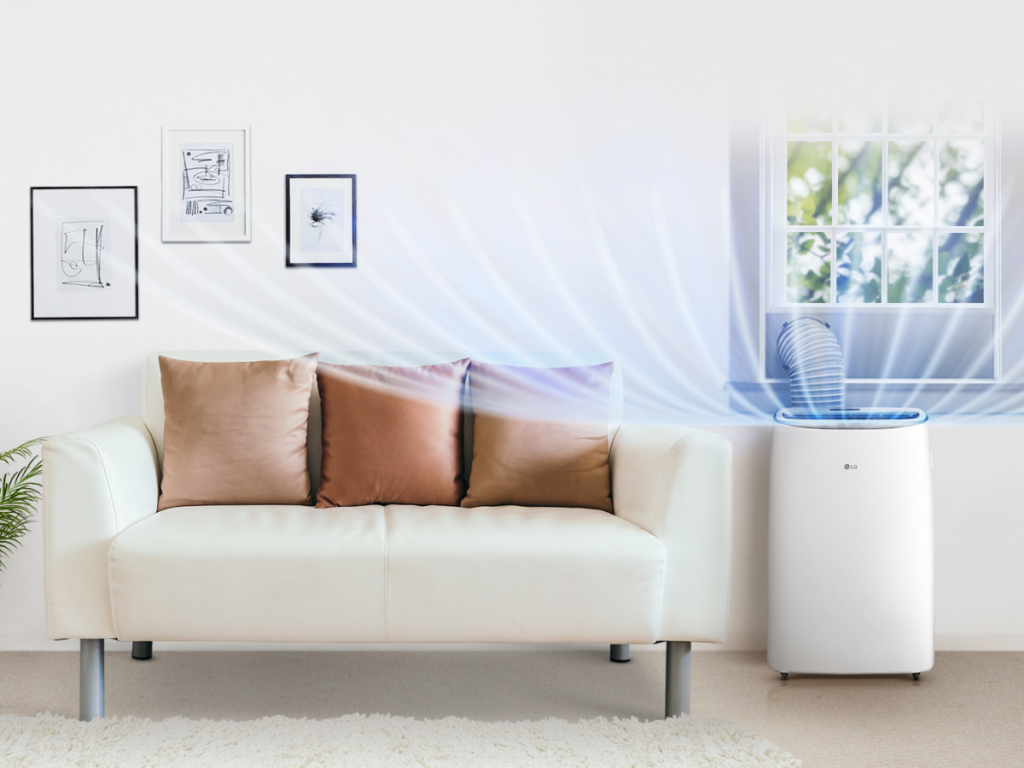 Lg dual inverter voice (lp1419ivsm) refrigerando uma casa
