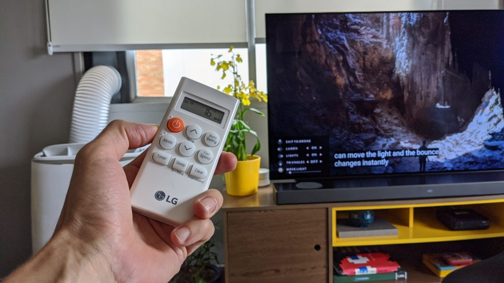Controle do ar-condicionado portátil lg dual inverter voice