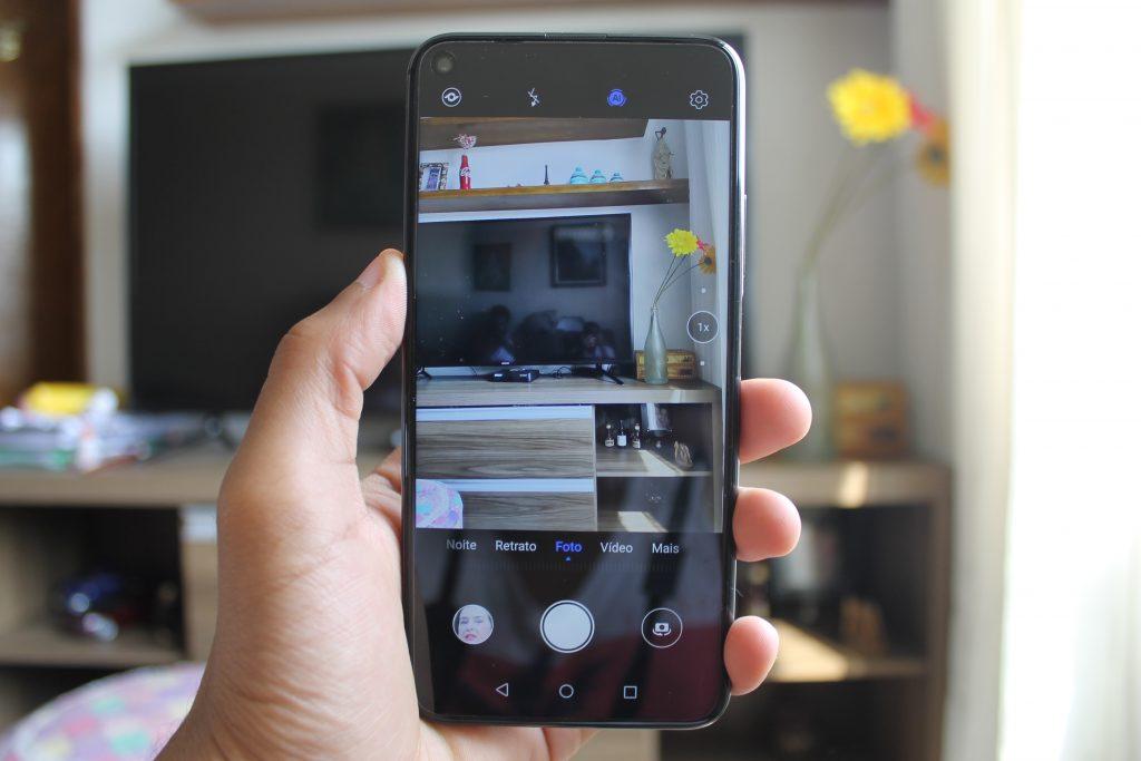 Tela do nova 5T com a câmera ligada