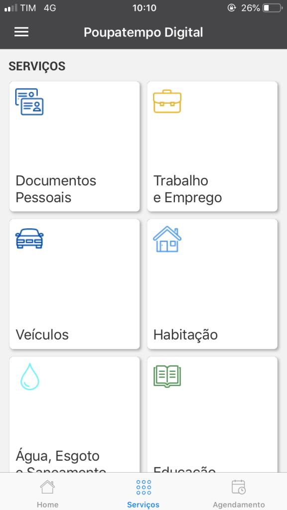 screenshot Poupatempo Digital