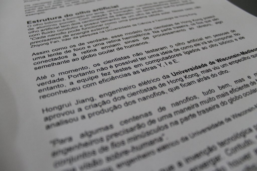 Texto impresso com a  Neverstop 1200W