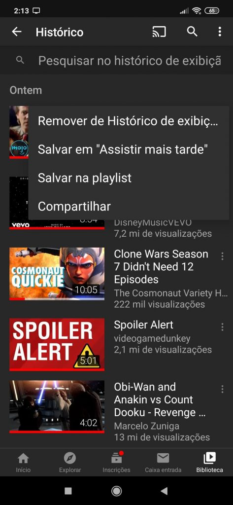 Removendo um vídeo do histórico do YouTube no app