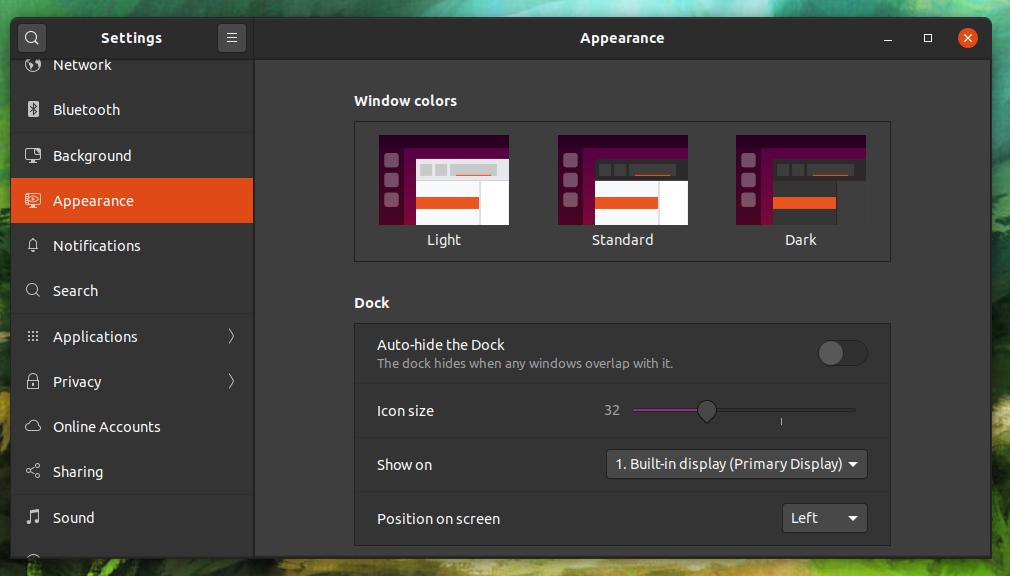 Tela de configuração da aparência do Desktop do Ubuntu 20.04