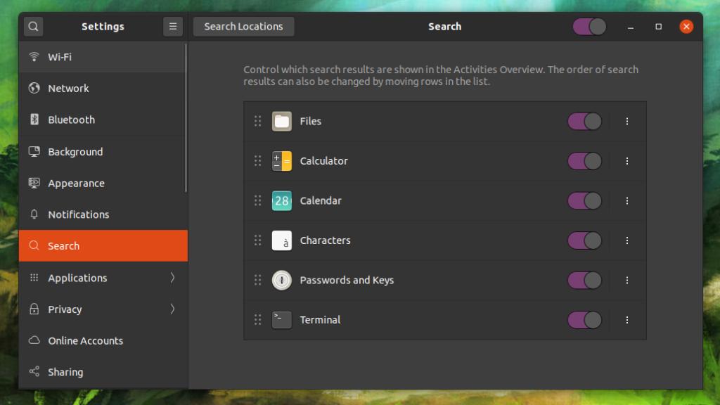 Menu de configurações do Ubuntu 20.04