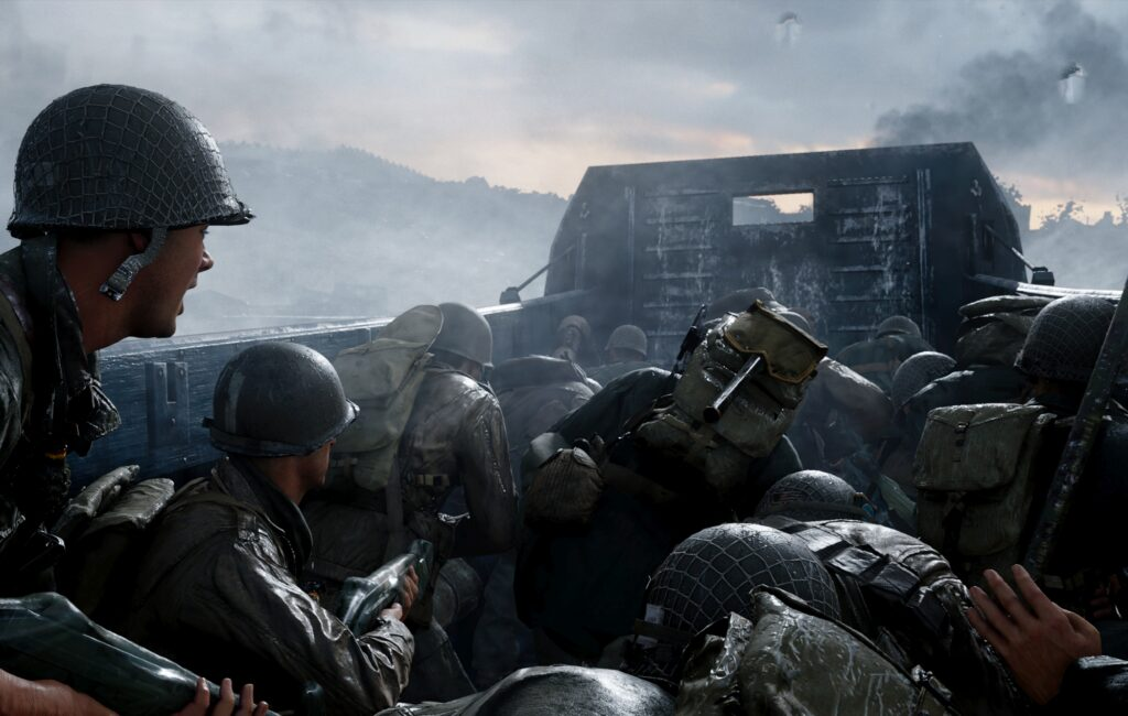 Cena da segunda guerra mundial em call of duty wwii, um dos games da ps plus de junho