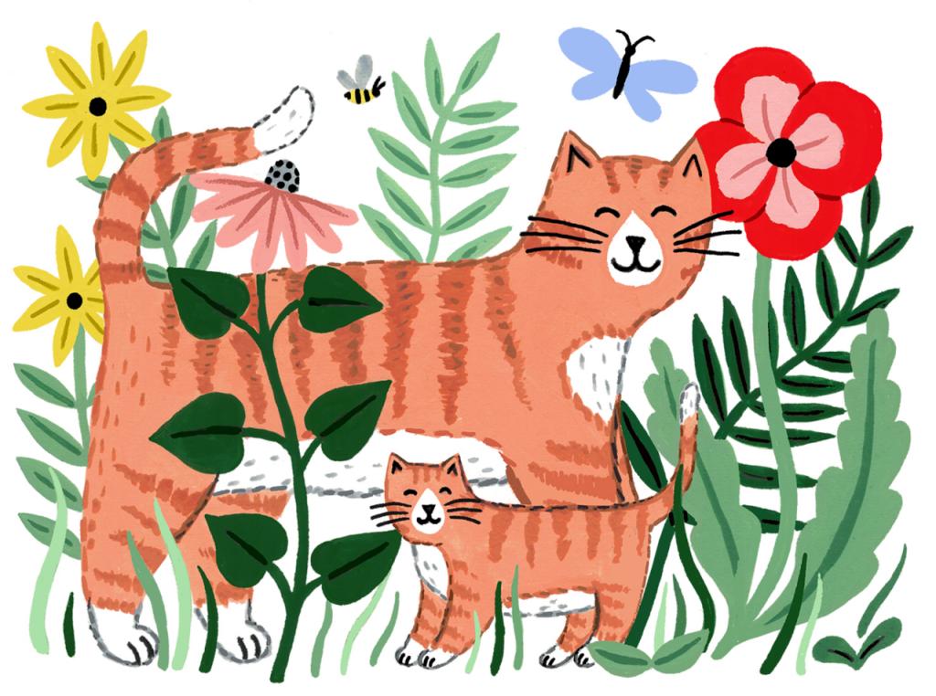 Ilustração de gatos para o dia das mães