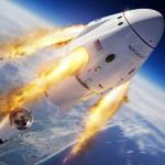 Cápsula Crew Dragon da SpaceX que realiza voo espacial tripulado