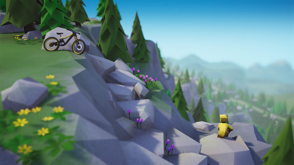 Personagem e bicicleta de Lonely Mountais: Downhills