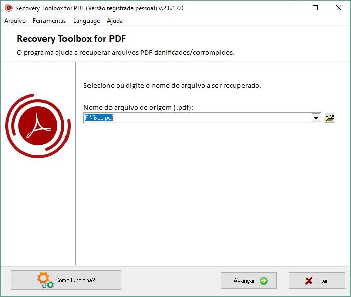 Tela do recovery toolbox for pdf, para inserir o nome do arquivo em uma barra