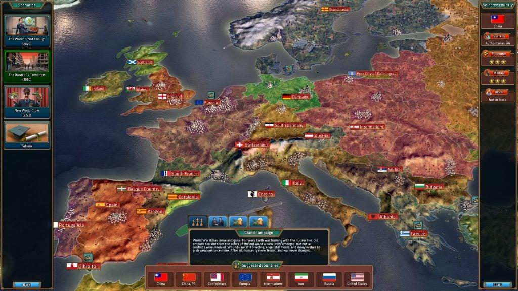 Tela de controle de países de Realpolitiks