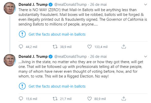Selo adicionado ao tweet de trump
