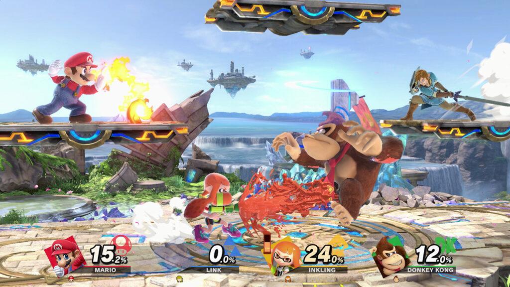Quatro personagens se enfrentam em uma das arenas de Super Smash Bros. Ultimate.