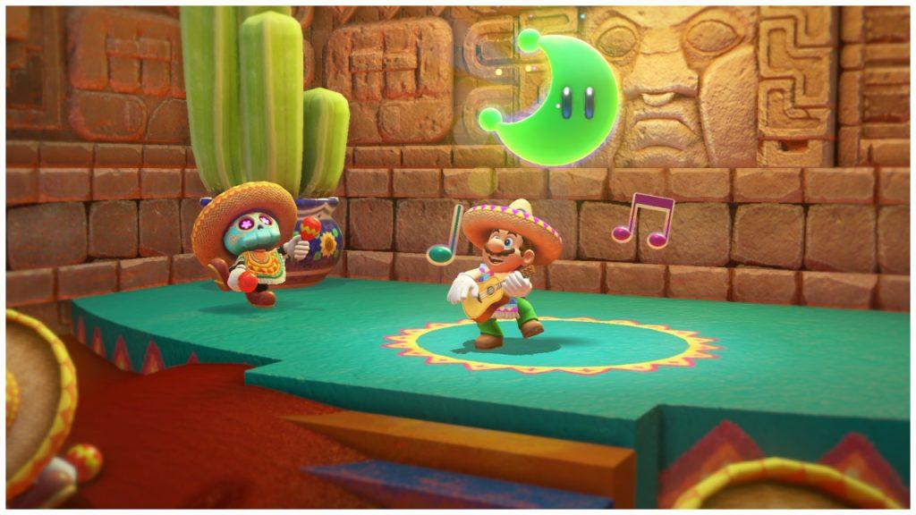 Mario toca violão com um personagem em temática mexicana.