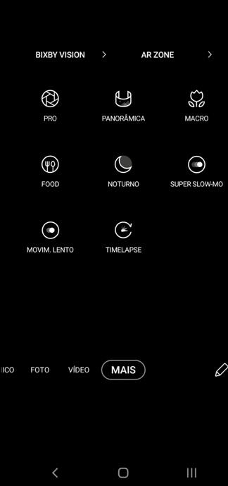 Print para adicione modos da câmera no acesso rápido.