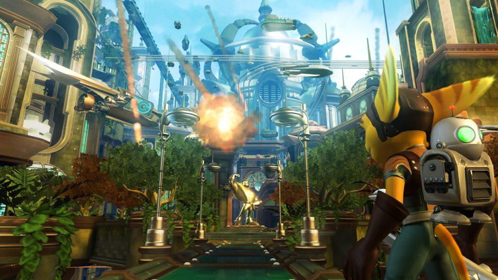 Ratchet e Clank em um dos cenários do jogo.