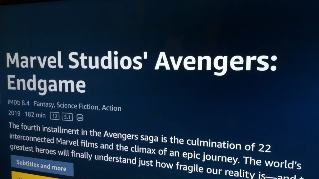 Vingadores endgame em sistema de som 5. 1 na amazon prime video