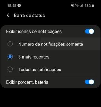 Print para deixe a barra de notificações mais limpa, mostrando apenas o número de notificações, sem os ícones.