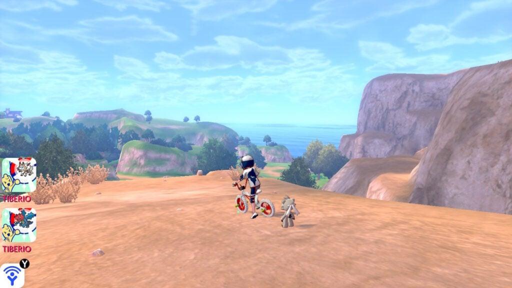 Em cima de uma montanha, o personagem principal e seu Pokémon admiram a paisagem.