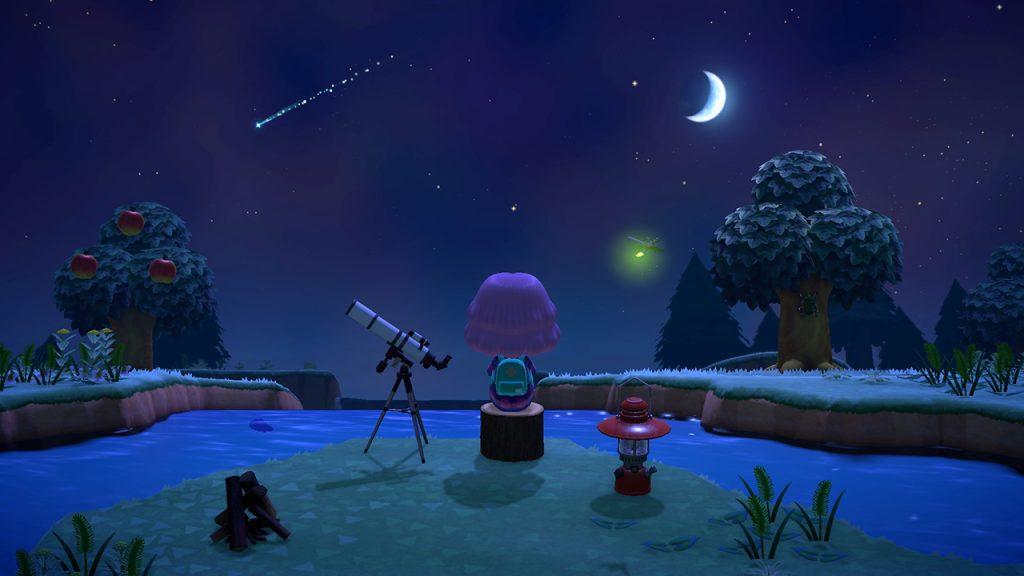 Personagem de Animal Crossing: New Horizons admirando o céu noturno da ilha.