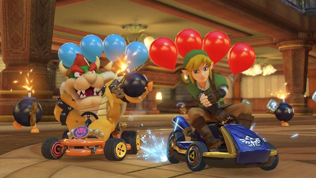 Bowser e Link se enfrentam em uma batalha de bombas.