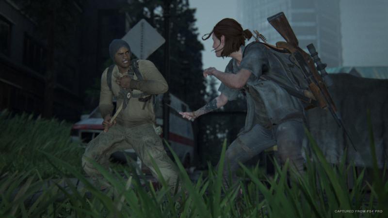 Ellie atacando um inimigo
