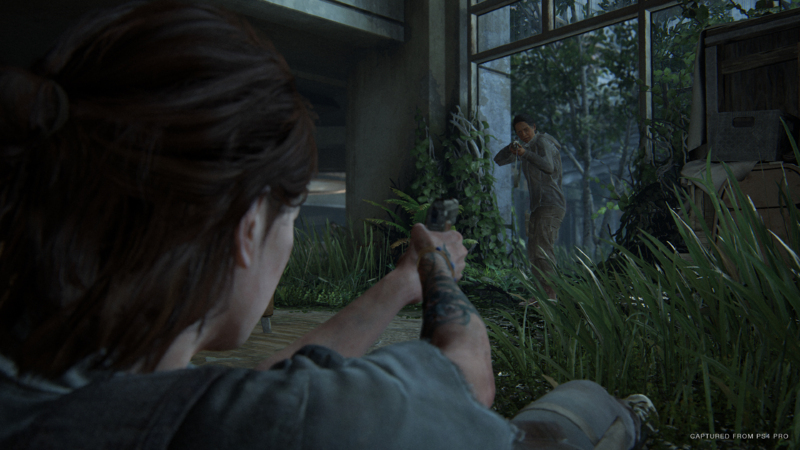 Ellie atirando do chão