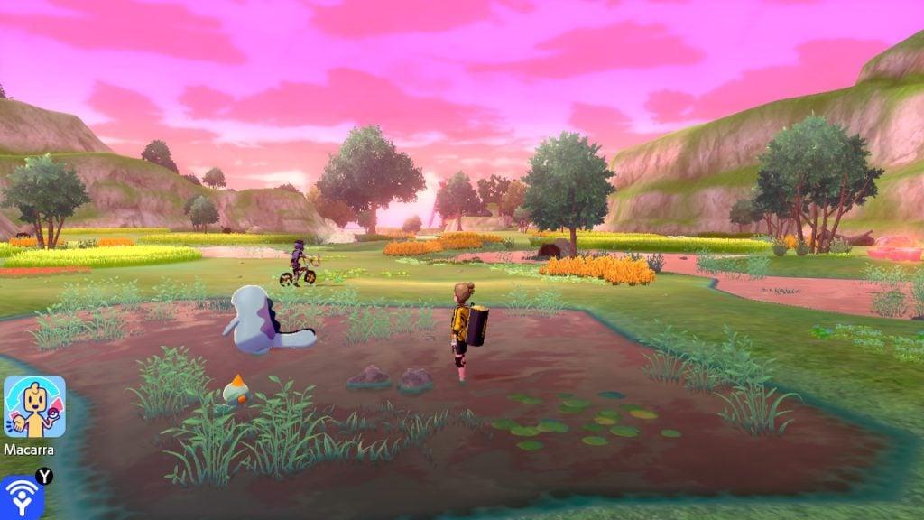 Pôr do sol e alguns Pokémon em poças de água.