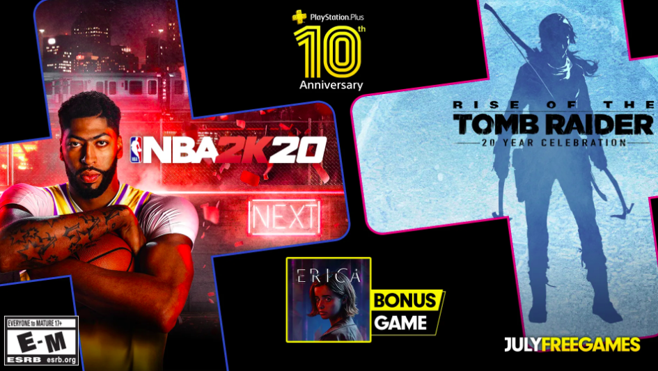 PS Plus de julho traz NBA 2K20 e Rise of the Tomb Raider