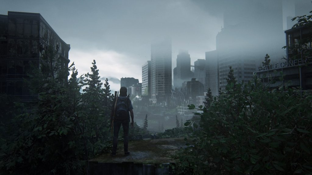 Ellie olhando Seattle destruída em The Last of Us: Part II