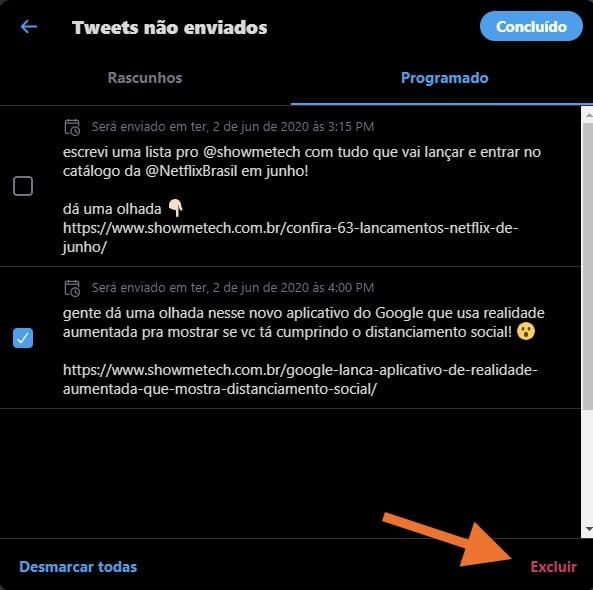 Print de um passo para deletar agendamentos no twitter