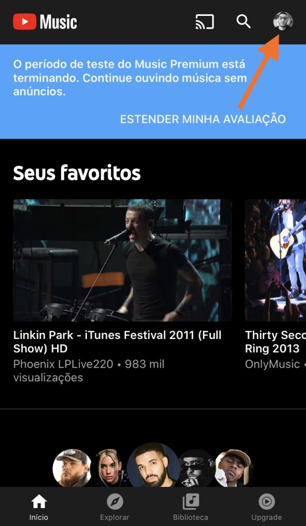 Tela do app do YouTube Music