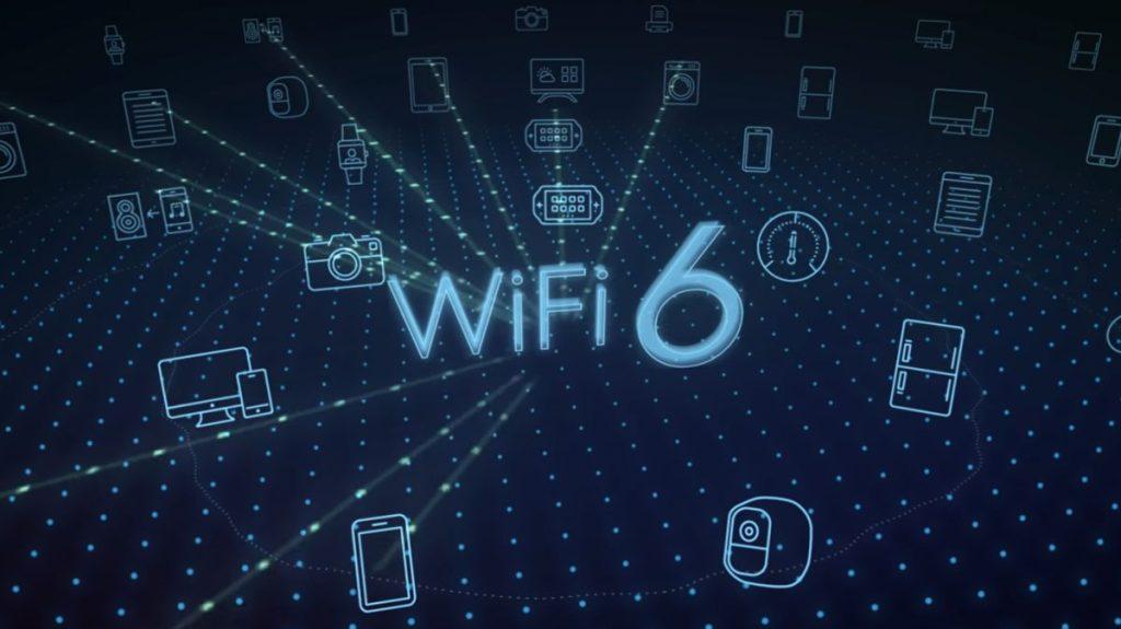 Esquema da Wi-Fi 6 com vários dispoisitivos conectados