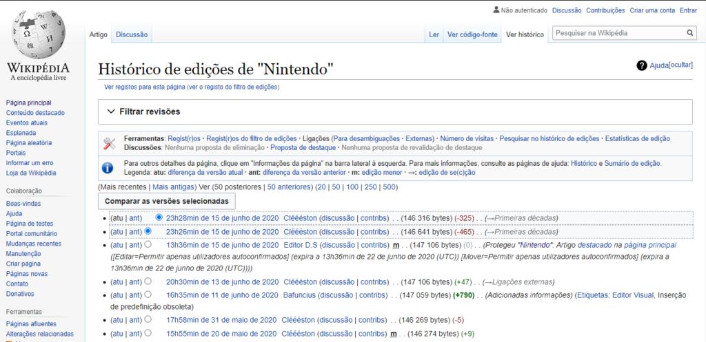 Página da wikipedia da nintendo, aba histórico