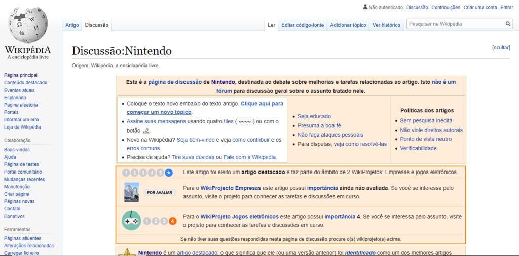 Página da wikipedia da nintendo, aba discussãi