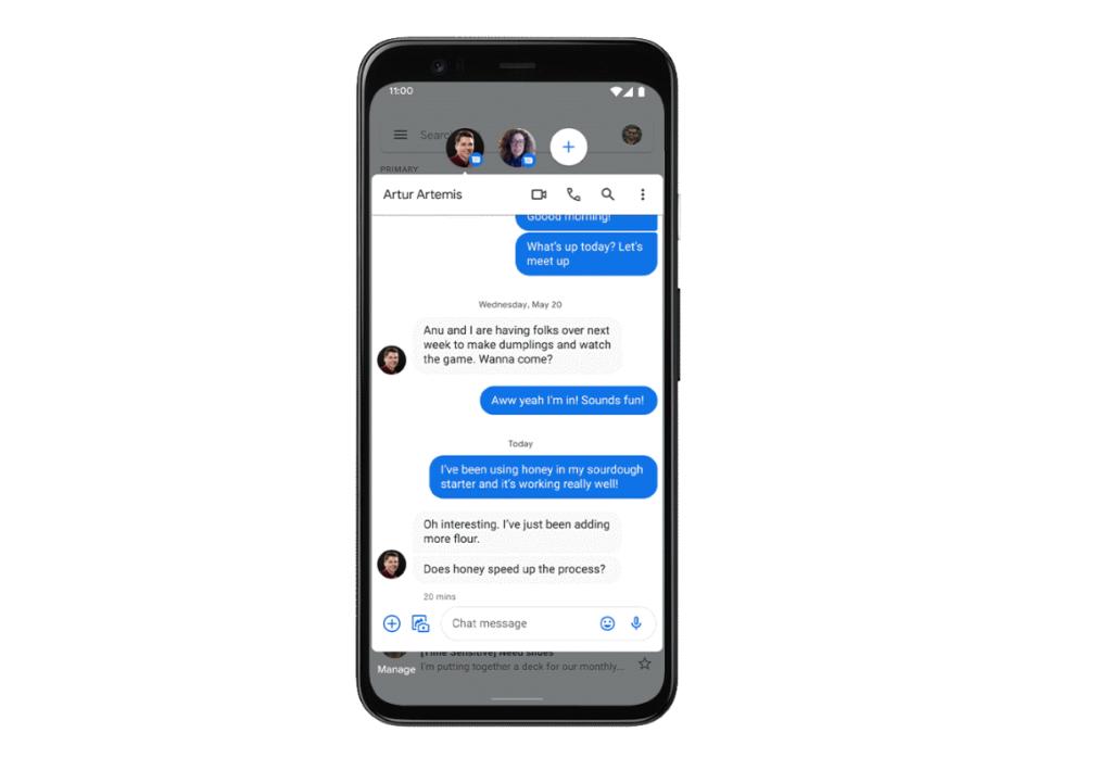 Conversas em bolhas no Android 11 Beta
