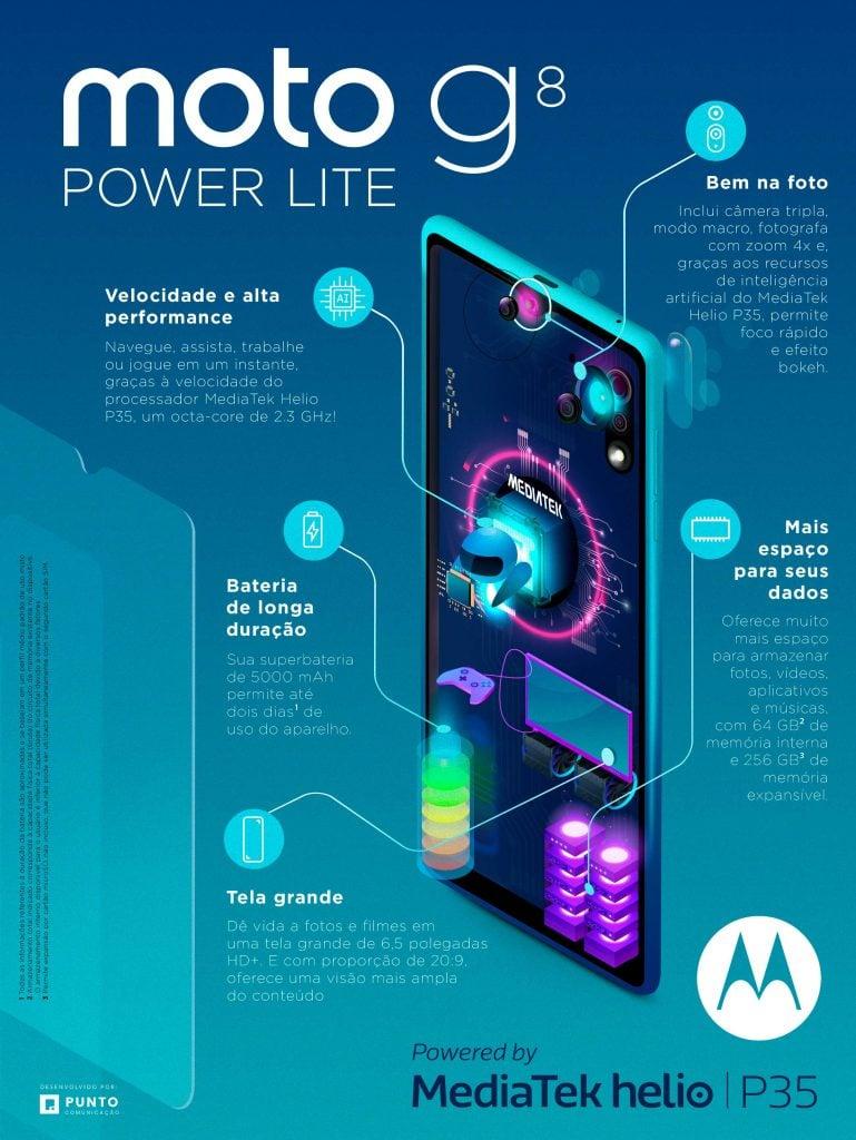 Moto G8 Power Lite fica longe da tomada com bateria poderosa