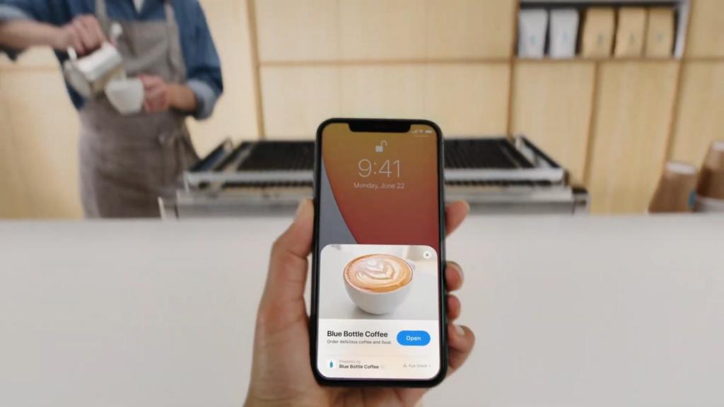 Exemplo de um App Clip sendo usado no iOS 14