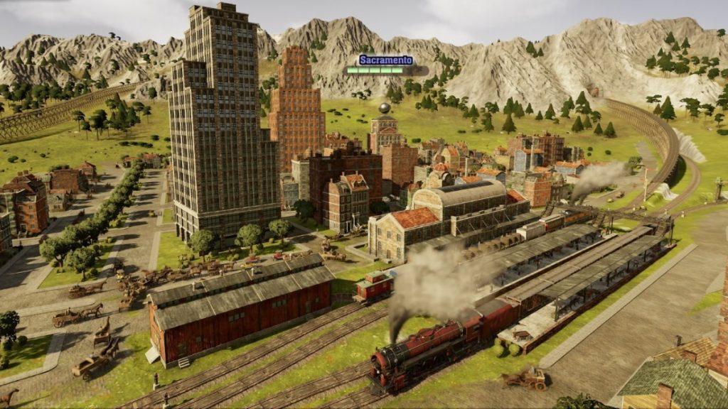 Trem em ferrovia em railway empire