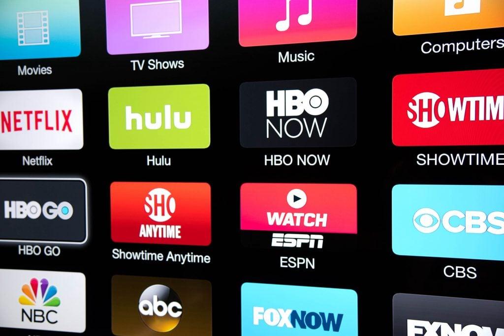 Ícones de vários serviços de streaming como Netflix e Hulu