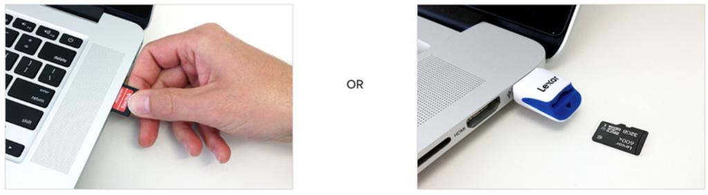 Adaptador para cartões microsd ou um leitor usb.