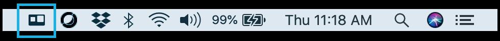 Barra de status de um mac indicando o programa gopro instalado