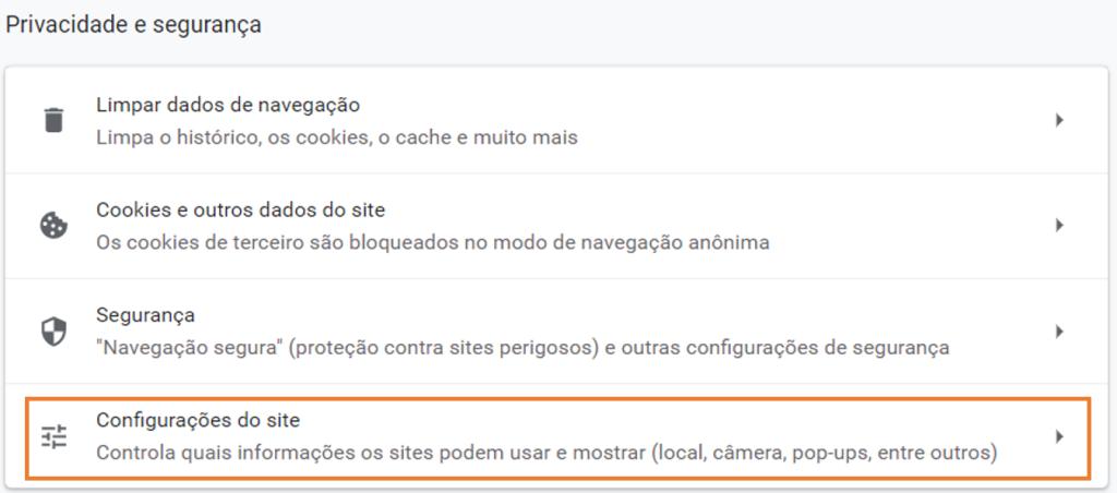 Tela do chrome indicando em laranja configuração do site
