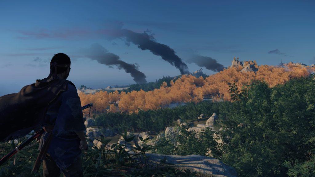 Jin avista três focos de fumaça no horizonte.