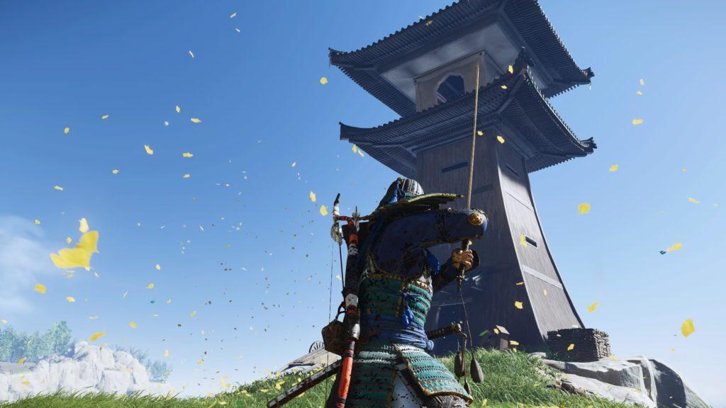 Jin segura sua espada em frente a um farol.