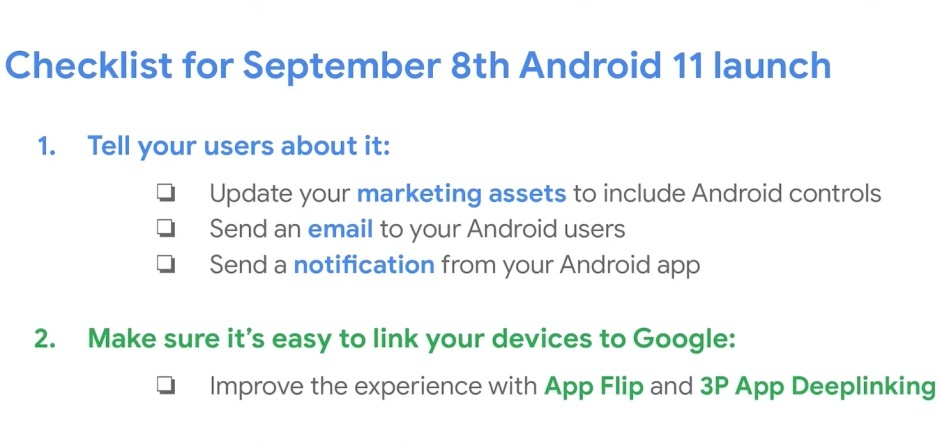 A imagem mostra um checklist de itens a serem executados para o lançamento do Android 11, em 8 de setembro