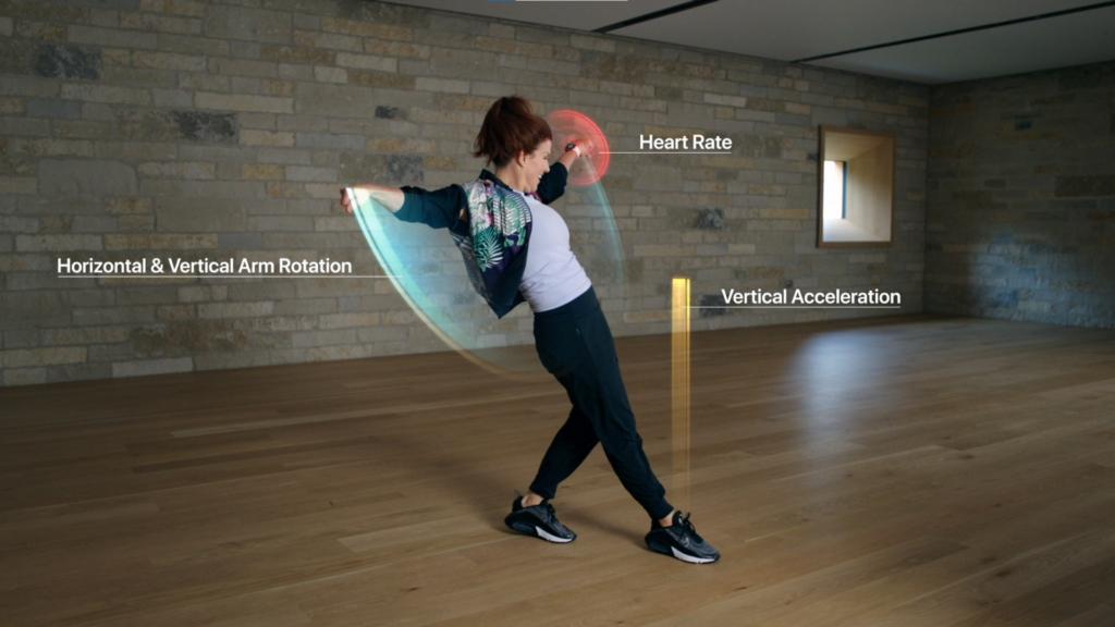 Imagem mostra mulher dançando enquanto o apple watch detecta os movimentos e a frequência cardíaca.
