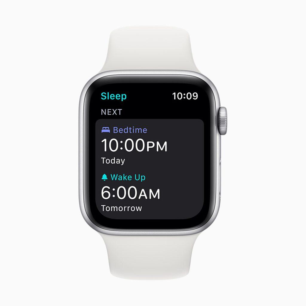 Apple watch exibindo a tela de configuração da meta de sono, com horário de deitar e de levantar.