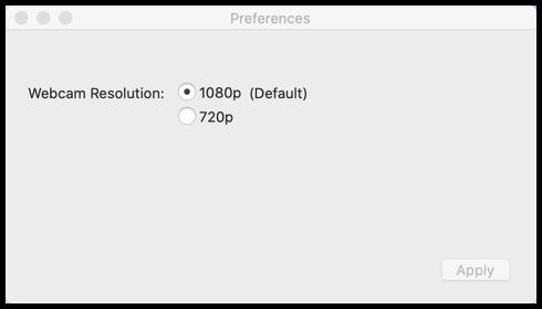 Tela indicando opções de resoluções para a imagem (1080p ou 720p)