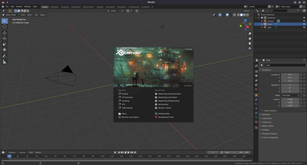 Captura de tela do software gratuito Blender, de criação de modelos em 3D
